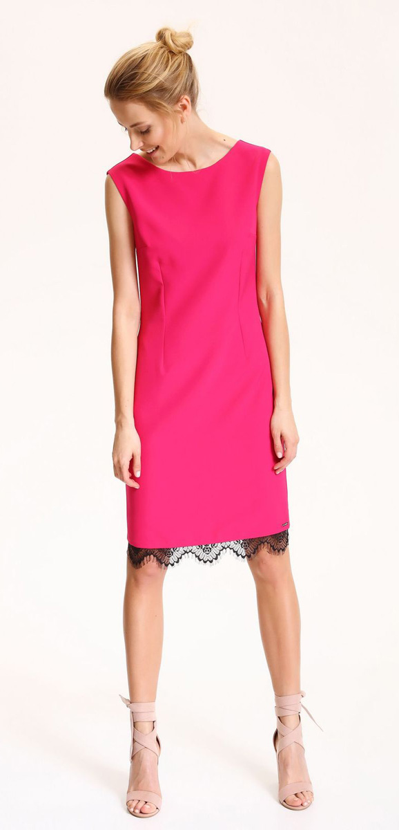 Платье Top Secret, цвет: темно-розовый. SSU1870CR. Размер 40 (48)SSU1870CRЭлегантное платье-футляр Top Secret выполнено из хлопка с добавлением эластана. Такое платье обеспечит вам комфорт и удобство при носке. Модель с круглым вырезом горловины и без рукавов по нижнему краю отделана кружевом контрастного цвета. На спинке платье застегивается на потайную молнию и имеет эффектный V-образный вырез. Модное платье-миди создаст обворожительный и неповторимый образ. Это платье станет превосходным дополнением к вашему гардеробу, оно подарит вам удобство и поможет вам подчеркнуть свой вкус и стиль.