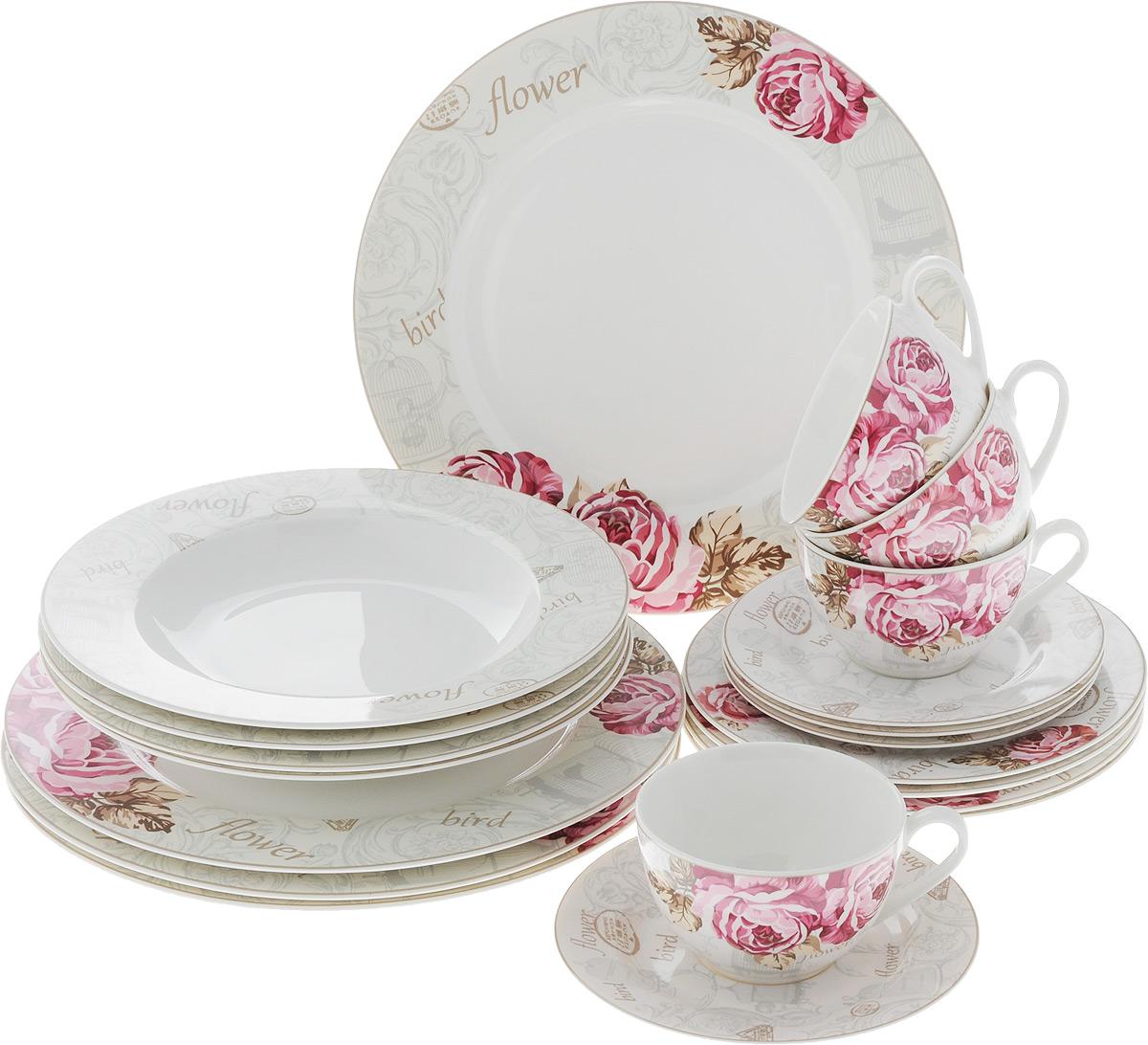 Набор столовой посуды Цветы и птицы, 20 предметов. 15-27215-272Набор столовой посуды Цветы и птицы состоит из 4 обеденных тарелок, 4 суповых тарелок, 4 десертных тарелок, 4 блюдец и 4 чашек. Изделия выполнены из фарфора и дополнены изысканным рисунком. Посуда отличается прочностью, гигиеничностью и долгим сроком службы, она устойчива к появлению царапин. Такой набор прекрасно подойдет как для повседневного использования, так и для праздников или особенных случаев. Такой набор столовой посуды - это не только яркий и полезный подарок для родных и близких, а также великолепное дизайнерское решение для вашей кухни или столовой. Можно использовать в микроволновой печи и мыть в посудомоечной машине. Диаметр суповой тарелки: 23 см. Высота суповой тарелки: 3 см.Диаметр обеденной тарелки: 27 см. Диаметр десертной тарелки: 19 см. Диаметр блюдца: 15,5 см. Объем чашки: 250 мл.Диаметр чашки (по верхнему краю): 9,5 см.Высота чашки: 6 см.