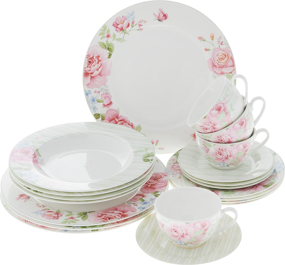 Набор столовой посуды Нежные цветы, 20 предметов. 16-08916-089Набор столовой посуды Нежные цветы состоит из 4 обеденных тарелок, 4 суповых тарелок, 4 десертных тарелок, 4 блюдец и 4 чашек. Изделия выполнены из фарфора и дополнены изысканным цветочным рисунком. Посуда отличается прочностью, гигиеничностью и долгим сроком службы, она устойчива к появлению царапин. Такой набор прекрасно подойдет как для повседневного использования, так и для праздников или особенных случаев. Такой набор столовой посуды - это не только яркий и полезный подарок для родных и близких, а также великолепное дизайнерское решение для вашей кухни или столовой. Можно использовать в микроволновой печи и мыть в посудомоечной машине. Диаметр суповой тарелки: 23 см. Высота суповой тарелки: 3 см.Диаметр обеденной тарелки: 27 см. Диаметр десертной тарелки: 19 см. Диаметр блюдца: 15,5 см. Объем чашки: 250 мл.Диаметр чашки (по верхнему краю): 9,5 см.Высота чашки: 6 см.