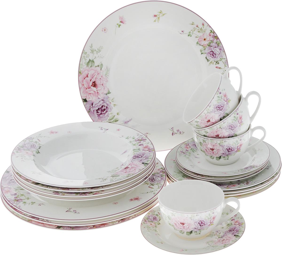 Набор столовой посуды Сиреневые цветы, 20 предметов. 16-33616-336Набор столовой посуды Сиреневые цветы состоит из 4 обеденных тарелок, 4 суповых тарелок, 4 десертных тарелок, 4 блюдец и 4 чашек. Изделия выполнены из фарфора и дополнены изысканным цветочным рисунком. Посуда отличается прочностью, гигиеничностью и долгим сроком службы, она устойчива к появлению царапин. Такой набор прекрасно подойдет как для повседневного использования, так и для праздников или особенных случаев. Такой набор столовой посуды - это не только яркий и полезный подарок для родных и близких, а также великолепное дизайнерское решение для вашей кухни или столовой. Можно использовать в микроволновой печи и мыть в посудомоечной машине. Диаметр суповой тарелки: 23 см. Высота суповой тарелки: 3 см.Диаметр обеденной тарелки: 27 см. Диаметр десертной тарелки: 19 см. Диаметр блюдца: 15,5 см. Объем чашки: 250 мл.Диаметр чашки (по верхнему краю): 9,5 см.Высота чашки: 6 см.