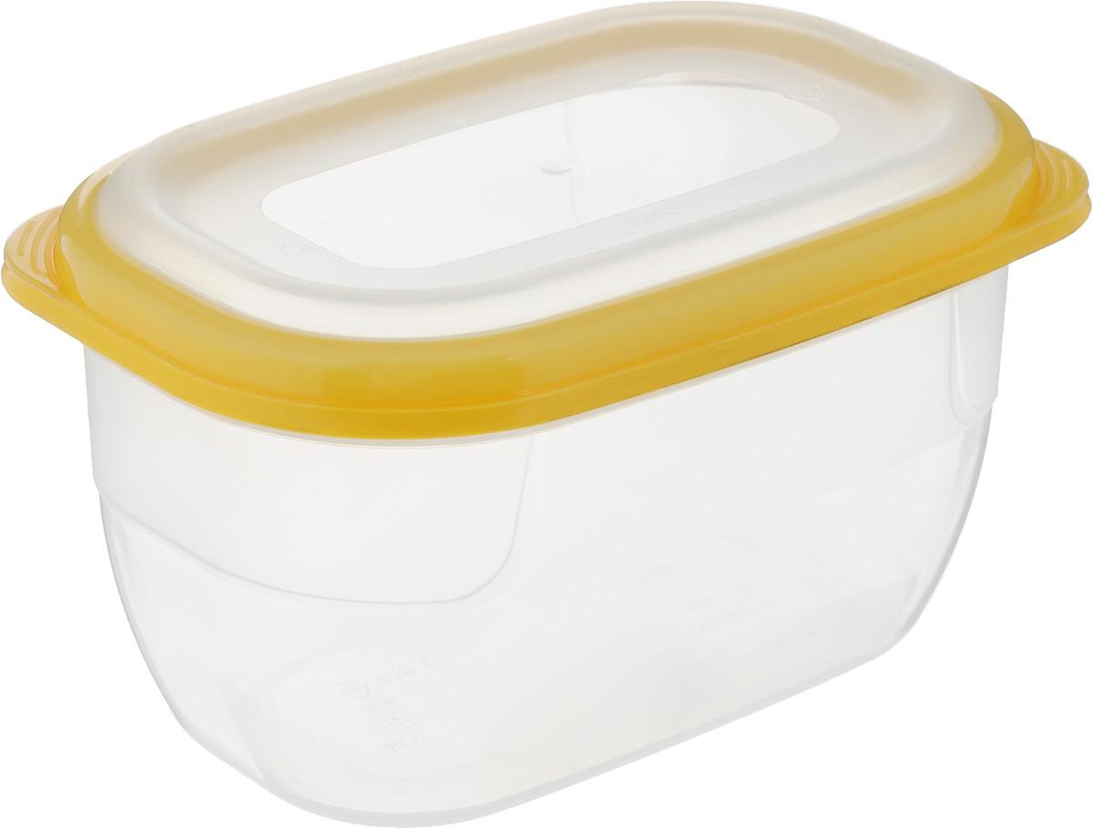 Контейнер для СВЧ Полимербыт Премиум, цвет: прозрачный, желтый, 750 мл контейнер вакуумный пластиковый для хранения продуктов 136х136х71 мл 600 мл желтый 1249501