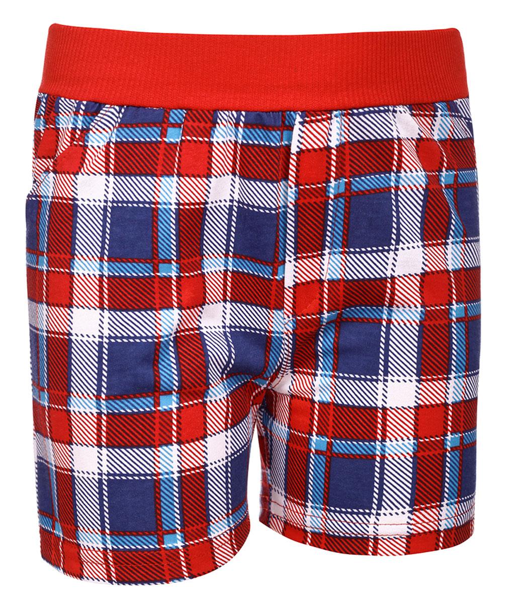 Шорты для мальчика M&D, цвет: красный, синий, белый. М37807. Размер 92М37807Шорты для мальчика от M&D выполнены из натурального хлопка и оформлены оригинальным принтом. Модель имеет эластичные пояс на талии. По бокам расположены втачные карманы.