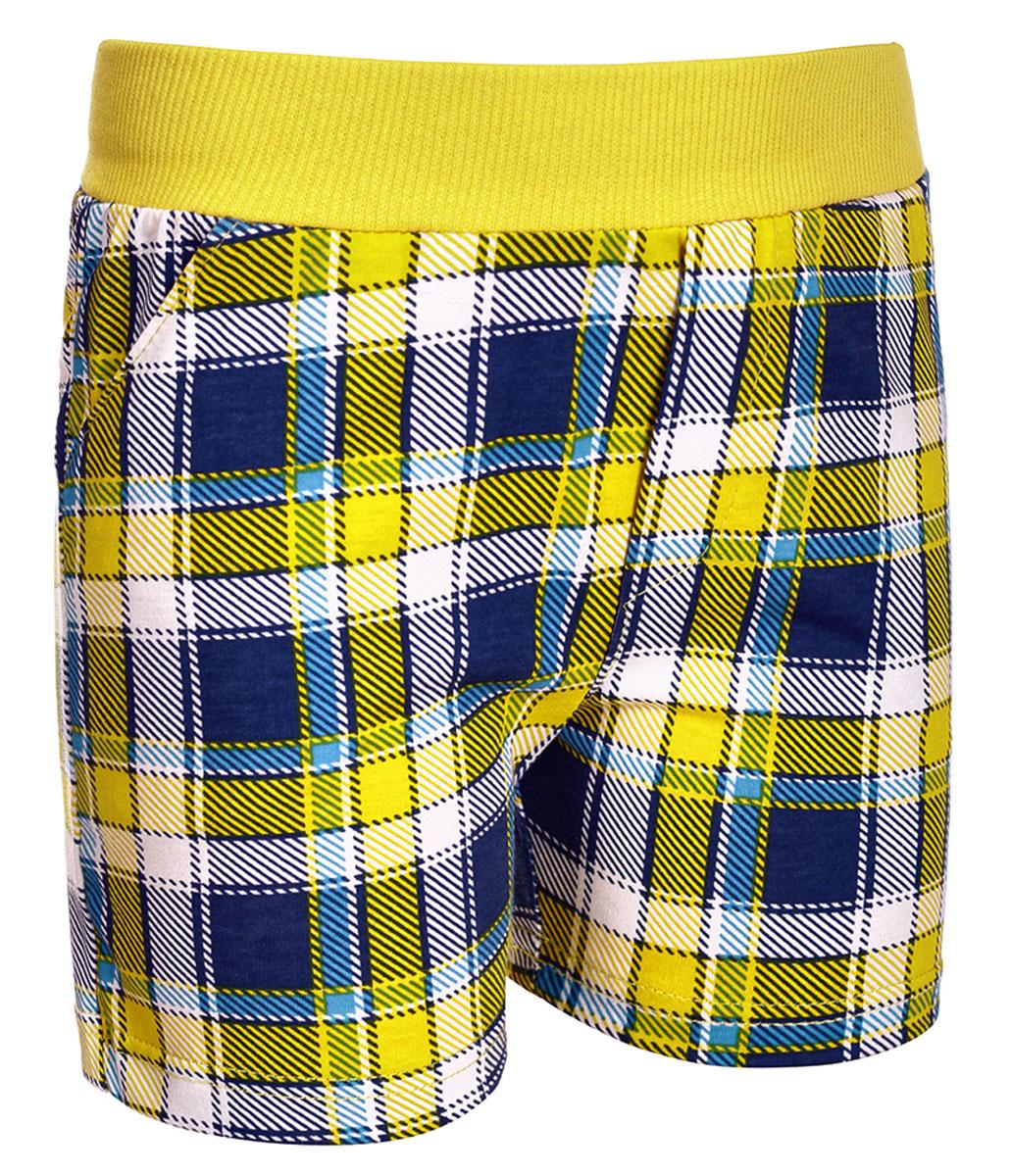 Шорты для мальчика M&D, цвет: желтый, темно-синий, белый. М37802. Размер 104М37802Шорты для мальчика от M&D выполнены из натурального хлопка и оформлены оригинальным принтом. Модель имеет эластичные пояс на талии. По бокам расположены втачные карманы.