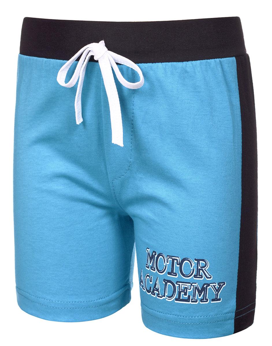 Шорты для мальчика M&D, цвет: голубой, черный. М37228. Размер 98М37228Шорты для мальчика от M&D выполнены из натурального хлопка. Эластичный пояс на талии дополнен затягивающимся шнурком.