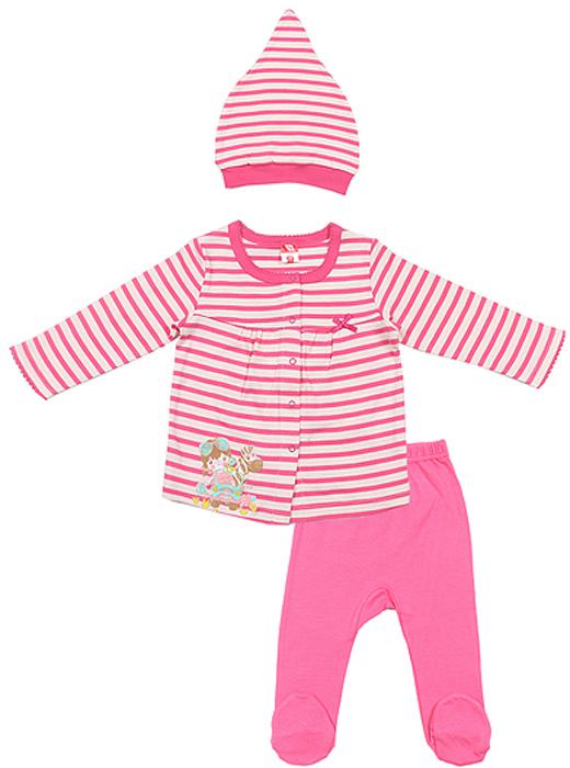 Комплект для девочки Cherubino: кофточка, ползунки, шапочка, цвет: розовый. CAB 9458. Размер 68CAB 9458Комплект ясельный для девочки Cherubino, состоит из полосатой кофточки свободного кроя, гладкорашенных ползунков и полосатой шапочки.