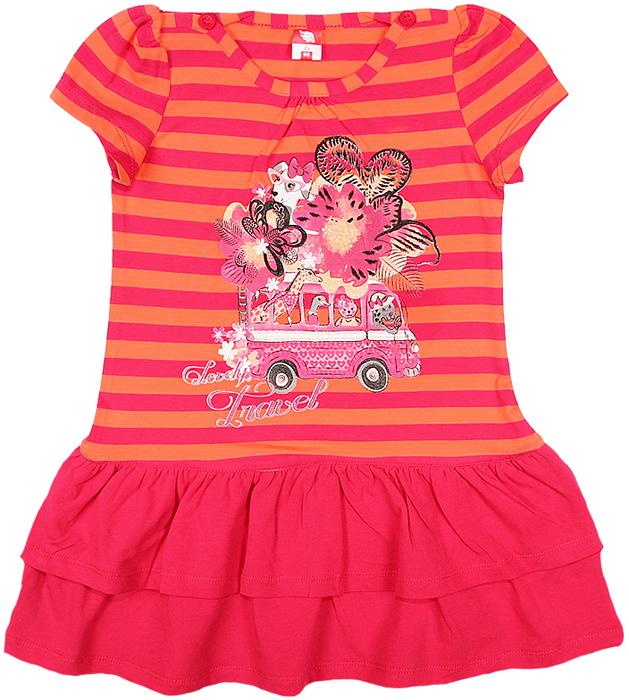 Платье для девочки Cherubino, цвет: розовый. CAK 61181. Размер 110CAK 61181Платье для девочки Cherubino с коротким рукавом, верх выполнен из полосатого трикотажа, по низу - воланы из однотонного материала. Декорировано принтом. Модель очень мягкая и легкая, не раздражает нежную кожу ребенка и хорошо вентилируется.