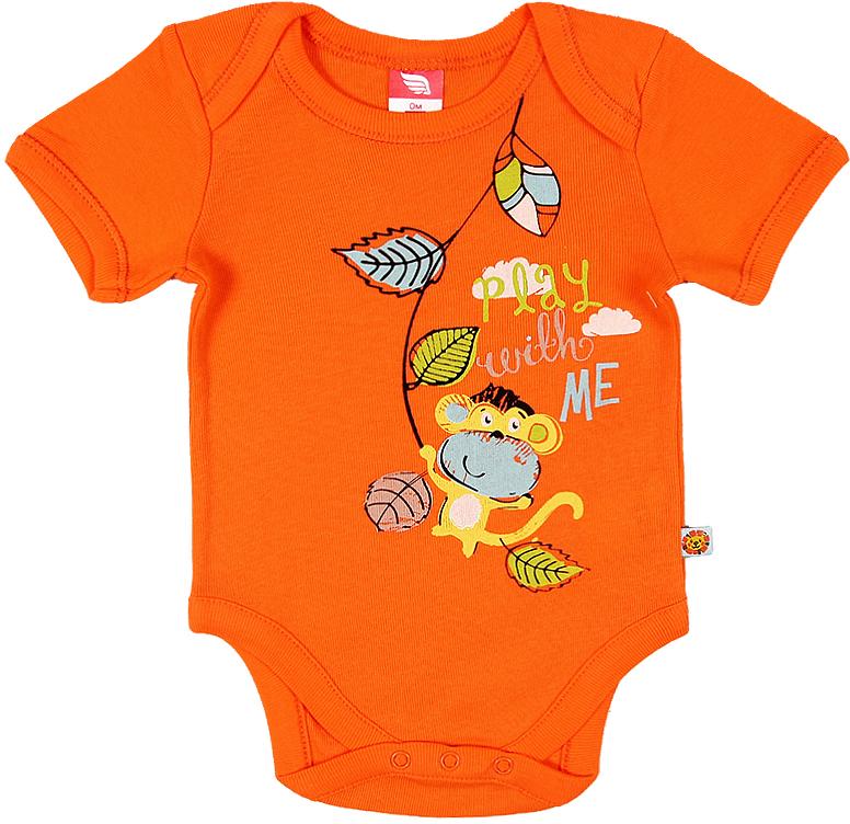 Боди для мальчика Cherubino, цвет: оранжевый. CAN 4145 (143). Размер 74CAN 4145 (143)Боди для мальчика Cherubino с коротким рукавом изготовлено из натурального хлопка. Боди из мягкого трикотажа застегивается на кнопки и украшено принтом.