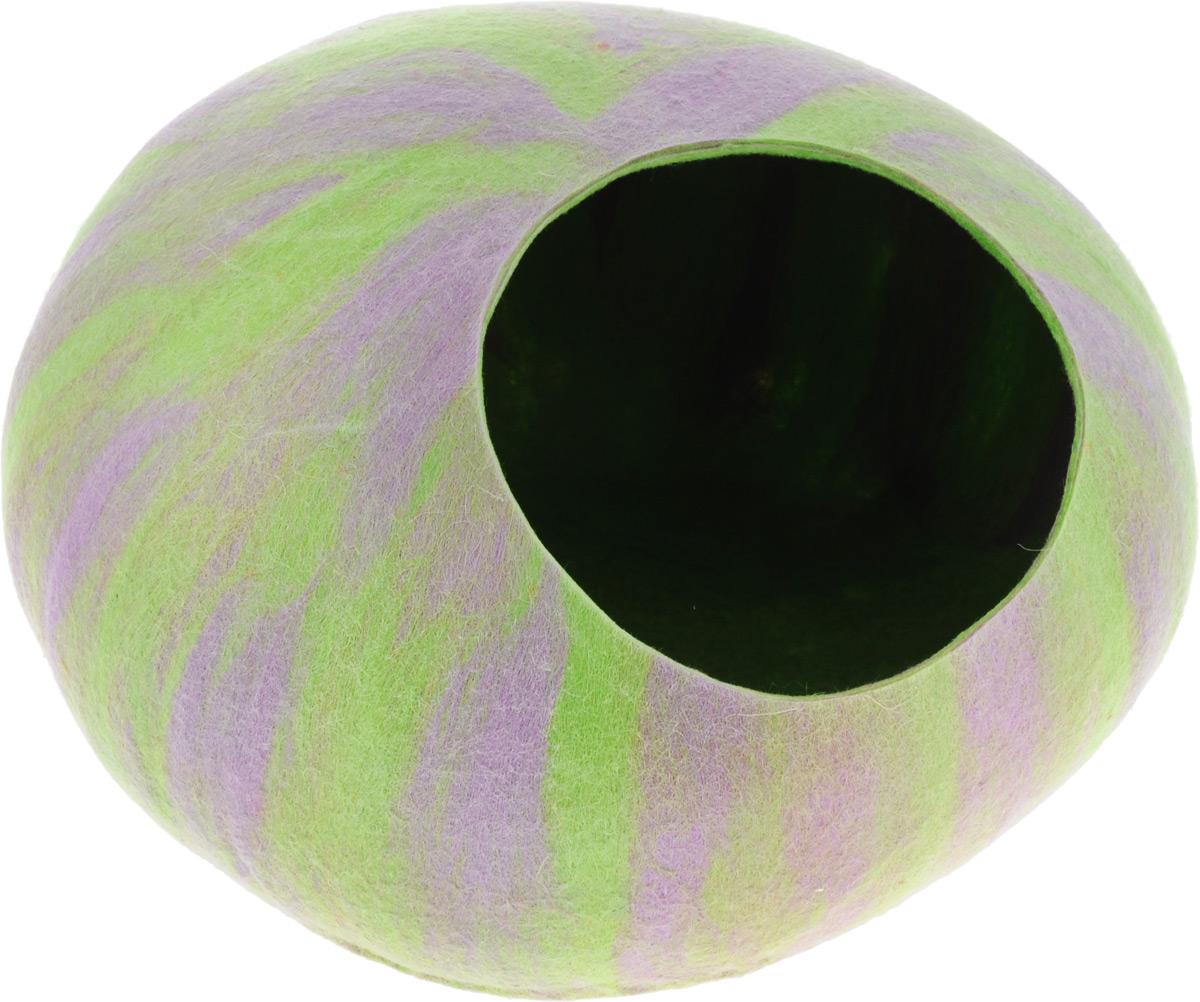 Домик-слипер Zoobaloo WoolPetHouse, размер М, форма круг, без ушек, мультиколор салатовый