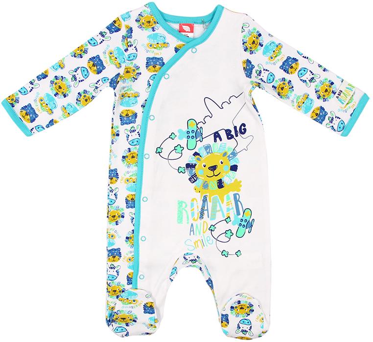 Комбинезон для мальчика Cherubino, цвет: синий. CAN 9626 (143). Размер 56CAN 9626 (143)Комбинезон для мальчика Cherubino изготовлен из натурального хлопка. Модель украшена принтом, полностью распашная, застегивается на кнопки.
