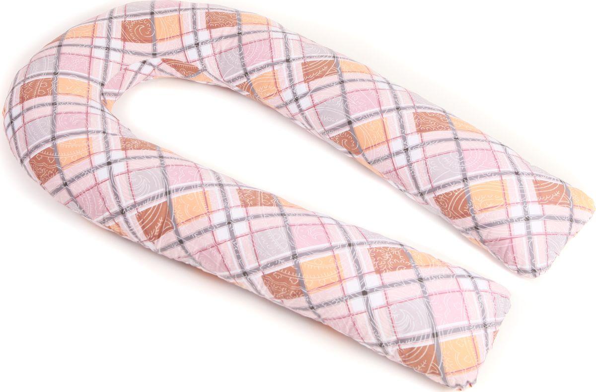 Body Pillow Подушка для беременных холлофайбер U-образная Квадрат с наволочкой цвет розовый бежевый 90 х 150 см -  Детский текстиль