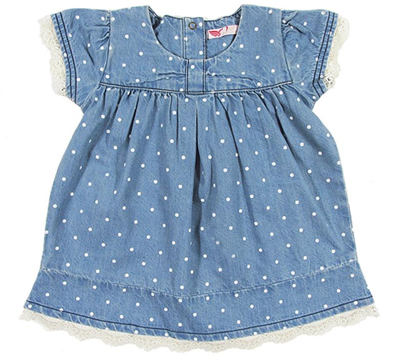 Платье для девочки Cherubino, цвет: голубой. CB 6J007. Размер 74CB 6J007Платье для девочки Cherubino изготовлено из денима в горошек, с отрезной кокеткой, свободного кроя, отделка из кружева. Модель очень мягкая и легкая, не раздражает нежную кожу ребенка и хорошо вентилируется.