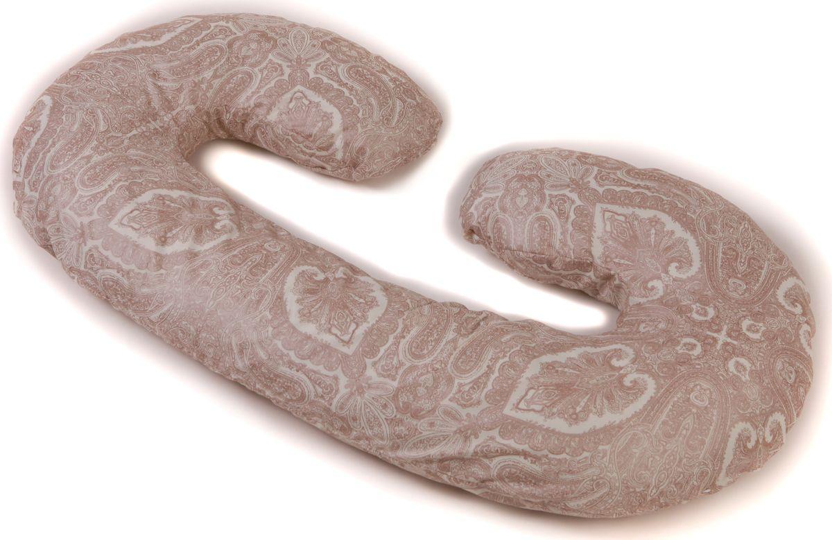 Body Pillow Подушка для беременных холлофайбер C-образная с наволочкой цвет белый коричневый 75 х 140 см98299571Подушка для беременных в форме С – многофункциональная и эргономичная подушка, которая подстроится под форму тела будущей мамы даже во время анатомических изменений. Длинная сторона подушки поддерживает растущий животик или спинку, а закругления подкладываются под голову и между бедер, для того чтобы снять напряжение с мышц и отечность ног. Размер подушки 140х75 см (или 300 см по внешнему краю). Подушка идеально подойдет девушкам с ростом до 170 см.Подушку можно сложить пополам и использовать как удобное кресло, а так же подушку можно обернуть вокруг талии и расположить на ней малыша во время кормления.Наполнитель подушки – холлофайбер – это мягкий и гибкий классический наполнитель. Этот материал состоит из волокон полиэстера, которые образуют сильную пружинистую структуру материала. Это свойство позволяет быстро восстанавливать свою форму после смятия, а так же принимать различные формы. В комплекте есть съемная наволочка на молнии нежного бежево-молочного цвета с рельефным римским узором «Квадратики» из микрофибры, очень практичный цвет.