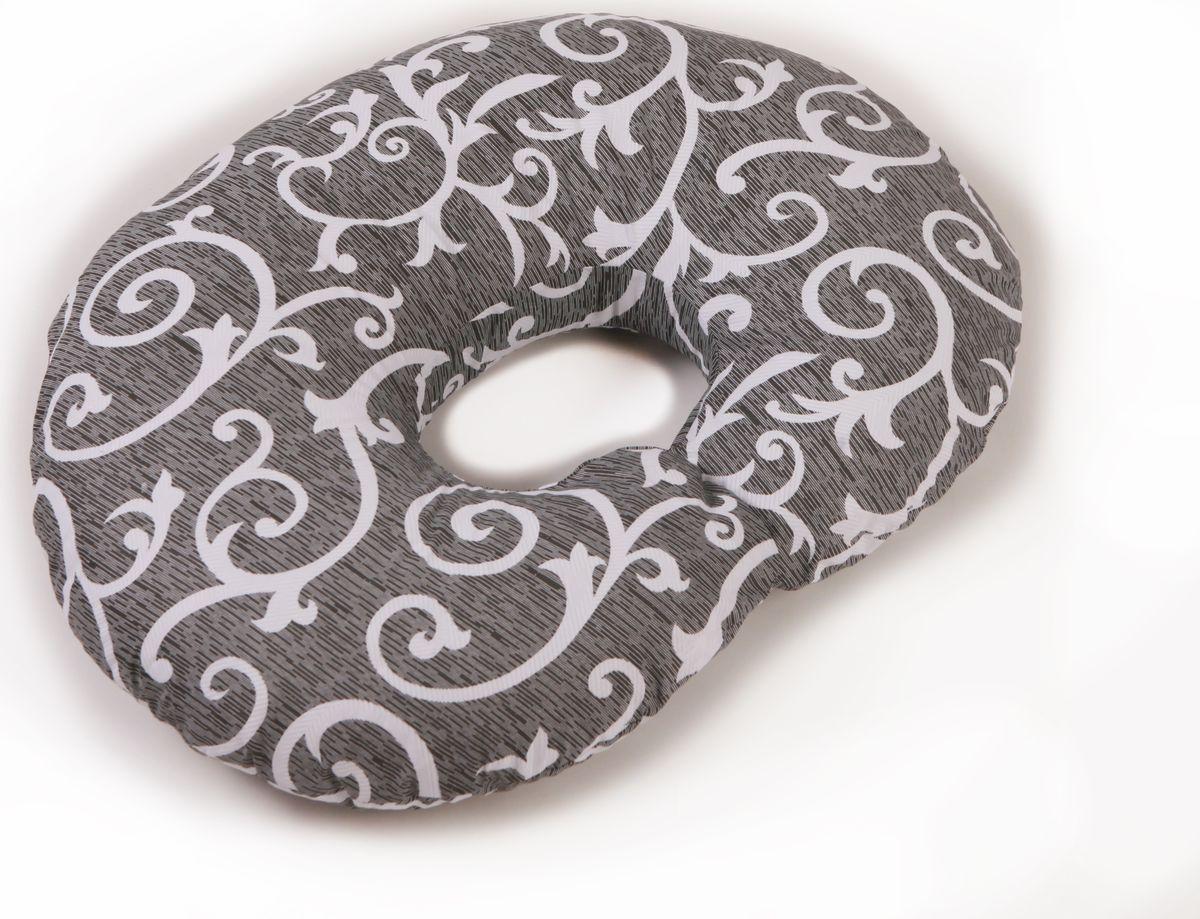 Body Pillow Подушка для кормящих холлофайбер Рогалик с наволочкой цвет серый белый 70 х 90 см