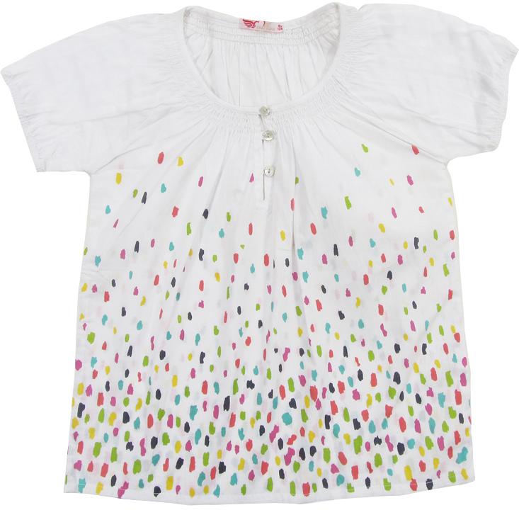Блузка для девочки Cherubino, цвет: белый. CJ 6T035. Размер 128CJ 6T035Блузка для девочки Cherubino изготовлена из тонкого хлопкового текстиля. Модель оформлена по горловине сборками и декоративными пуговицами.