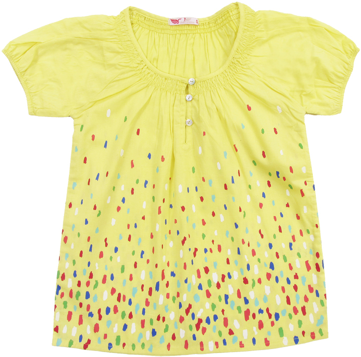 Блузка для девочки Cherubino, цвет: желтый. CJ 6T035. Размер 146CJ 6T035Блузка для девочки Cherubino изготовлена из тонкого хлопкового текстиля. Модель оформлена по горловине сборками и декоративными пуговицами.