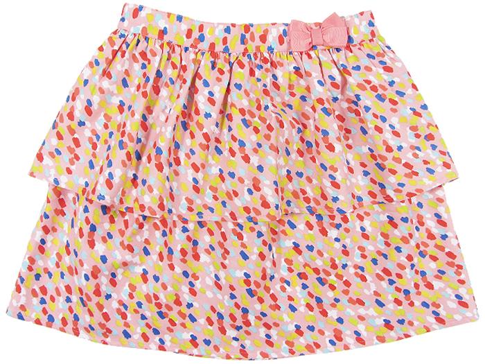 Юбка для девочки Cherubino, цвет: коралловый. CJ 7T033. Размер 128CJ 7T033Юбка для девочки Cherubino из тонкого хлопкового набивного текстиля. Двухслойная, пояс украшен декоративным бантом.