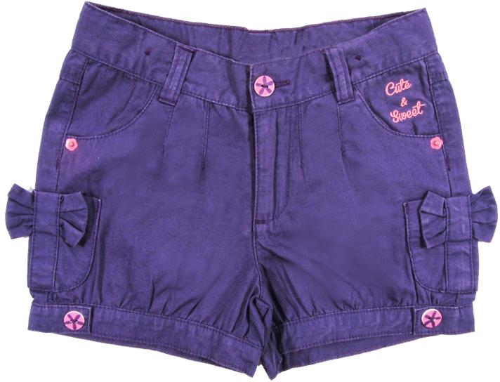 Шорты для девочки Cherubino, цвет: фиолетовый. CK 7T019. Размер 116CK 7T019Шорты для девочки Cherubino из хлопкового текстиля, с карманами. Декорированы пуговицами, вышивкой и бантиками.