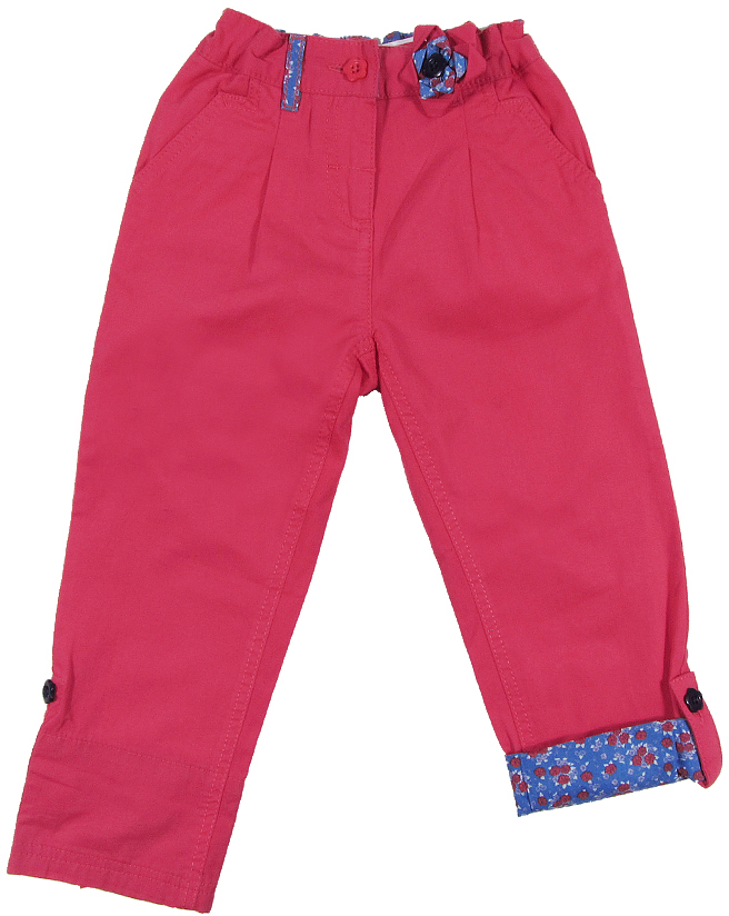 Брюки для девочки Cherubino, цвет: розовый. CK 7T021. Размер 92CK 7T021Брюки для девочки Cherubino изготовлены из натурального хлопка. По низу брючин имеются отвороты из контрастного набивного полотна с пуговицей. Пояс отделан также, как отвороты.
