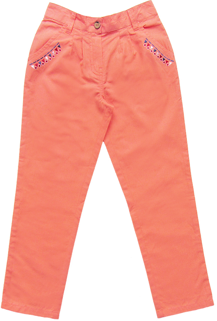 Брюки для девочки Cherubino, цвет: коралловый. CK 7T068 (154). Размер 116CK 7T068 (154)Брюки для девочки Cherubino выполнены из гладкокрашеного текстиля. Модель с поясом на пуговице, задняя часть пояса на резинке надежно фиксирует брюки и не сдавливает животик ребенка. Имеются карманы украшенные принтом.