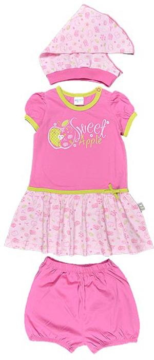 Комплект для девочки Cherubino: платье, трусики, косынка, цвет: розовый. CSB 9194 (05). Размер 80CSB 9194 (05)Комплект для девочки Cherubino изготовлен из хлопка, состоит из платья, трусиков на памперс и косынки. Он очень приятный на ощупь, не раздражает нежную и чувствительную кожу ребенка, позволяя ей дышать. Украшен принтом.