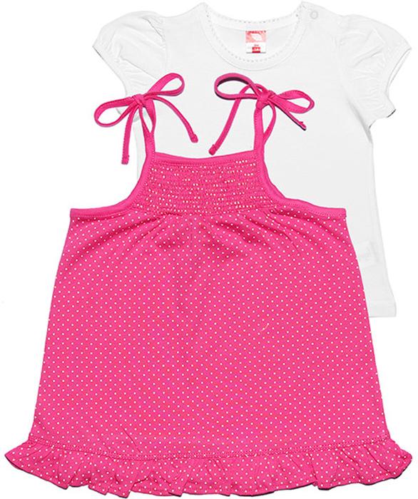 Комплект для девочки Cherubino: футболка, сарафан, цвет: розовый. CSB 9549 (117). Размер 86CSB 9549 (117)Комплект для девочки Cherubino состоит из футболки гладкокрашеной и сарафана в горошек на тонких бретелях. Комплект выполнен из натурально мягкого хлопка. Кокетка сарафана собрана на мелкую резинку.