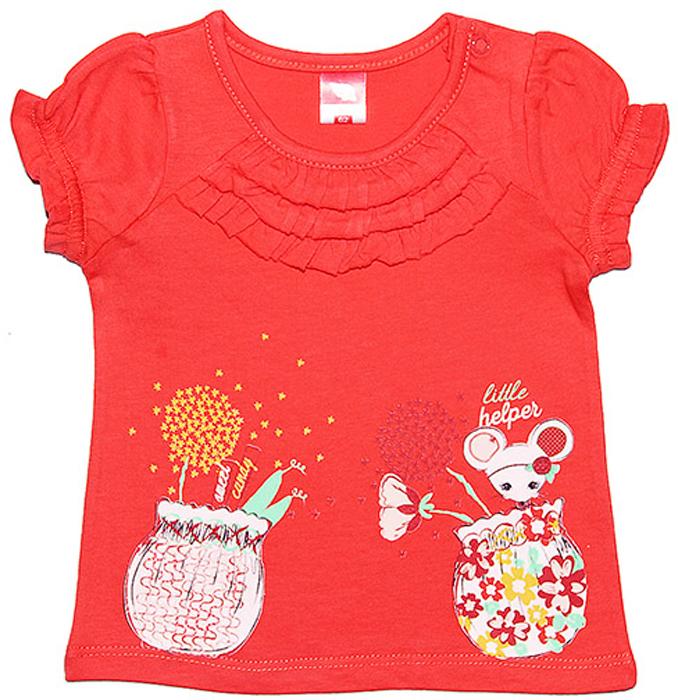 Футболка для девочки Cherubino, цвет: коралловый. CSB 61291. Размер 62CSB 61291Футболка для девочки Cherubino изготоалена из натурального хлопка. Модель украшена принтом и мелкими рюшками на передней части, рукава собраны на резиночки.