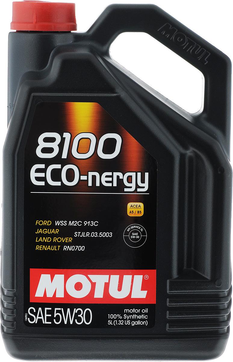 Масло моторное Motul 8100 Eco-nergy, синтетическое, 5W-30, 5 л102898Масло моторное Motul 8100 Eco-nergy - это 100% синтетическое энергосберегающее моторное масло для бензиновых и дизельных двигателей. Специально разработано для мощных современных бензиновых и дизельных двигателей автомобилей, в том числе с непосредственным впрыском, для которых предусмотрено использование масел с низкой высокотемпературной вязкостью в условиях высоких скоростей сдвига (HTHS). Предназначено для бензиновых и дизельных двигателей, созданных по новым технологиям, для которых предписаны масла Fuel Economy (ACEA A1/B1 и А5/В5). Совместимо с системами нейтрализации отработавших газов. Подходит для всех типов топлива: этилированный и неэтилированный бензин, этанол, сжиженный газ, дизельное топливо и биотопливо. ACEA Стандарты: ACEA A5/B5. API Стандарты: API SL/CF. Одобрения: FORD WSS M2C 913D; Jaguar / Land Rover STJLR.03.5003; Renault RN0700.