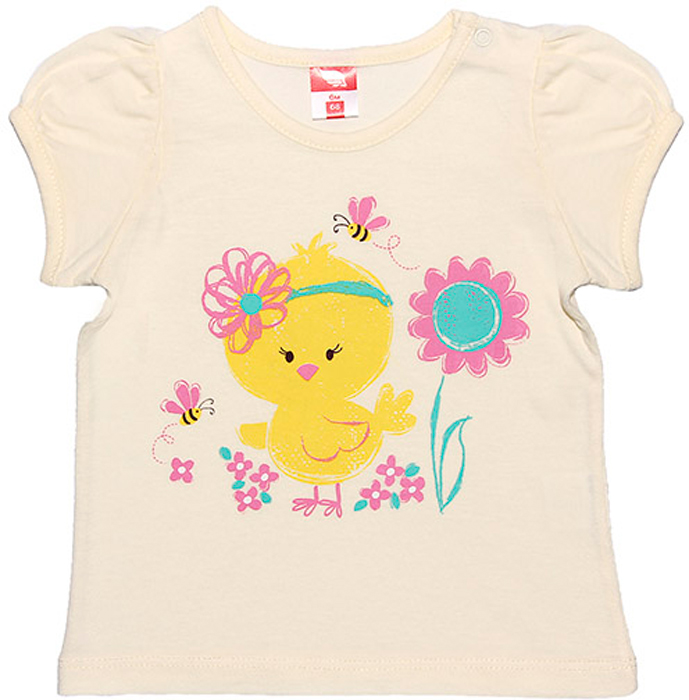 Футболка для девочки Cherubino, цвет: экрю. CSB 61292. Размер 74 футболка трикотажная карита экрю