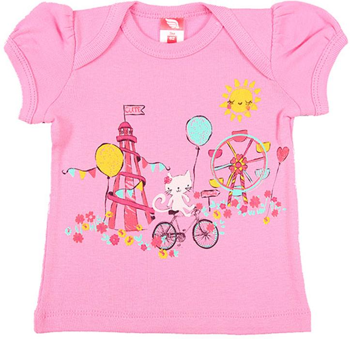 Футболка для девочки Cherubino, цвет: розовый. CSB 61293. Размер 62CSB 61293Футболка для девочки Cherubino изготовлена из натурального хлопка. Модель нежного цвета оформлена оригинальным принтом.