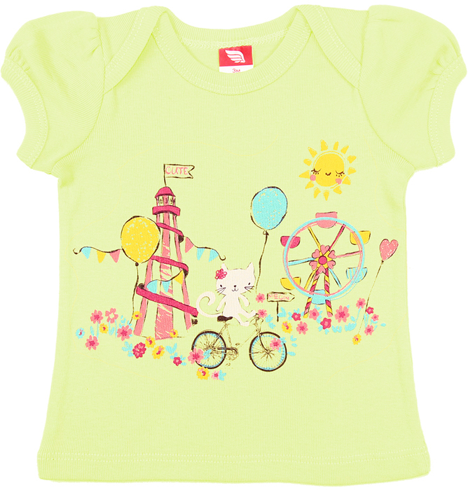 Футболка для девочки Cherubino, цвет: салатовый. CSB 61293. Размер 62CSB 61293Футболка для девочки Cherubino изготовлена из натурального хлопка. Модель нежного цвета оформлена оригинальным принтом.