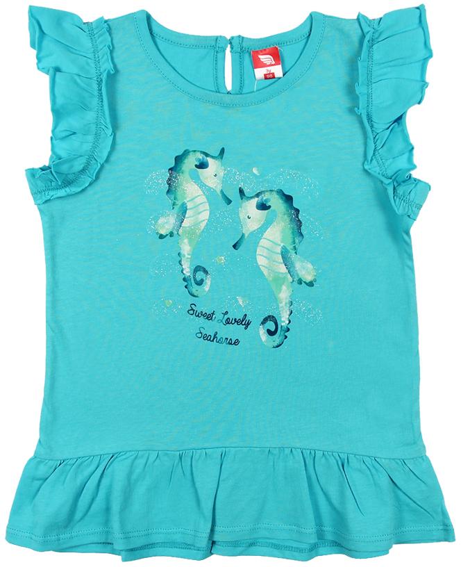 Платье для девочки Cherubino, цвет: бирюзовый. CSB 61549 (144). Размер 98CSB 61549 (144)Платье для девочки Cherubino изготовлено из натурального хлопка. Однотонная модель оформлена оригинальным принтом и рукавами-крылышками.