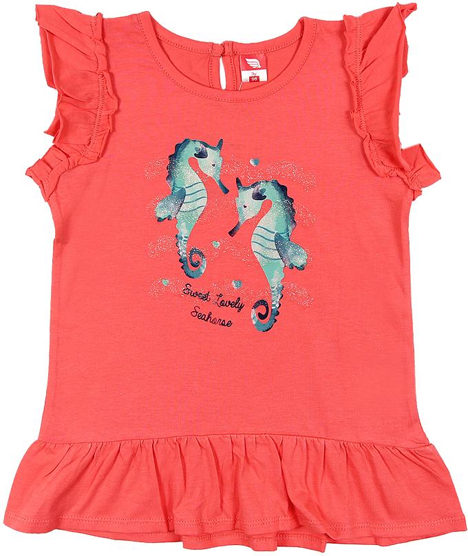 Платье для девочки Cherubino, цвет: коралловый. CSB 61549 (144). Размер 98CSB 61549 (144)Платье для девочки Cherubino изготовлено из натурального хлопка. Однотонная модель оформлена оригинальным принтом и рукавами-крылышками.