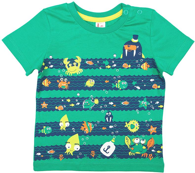 Футболка для мальчика Cherubino, цвет: зеленый. CSB 61609 (153). Размер 80CSB 61609 (153)Футболка для мальчика Cherubino изготовлена из натурального хлопка. Модель оформлена оригинальным принтом и кнопками на плече.