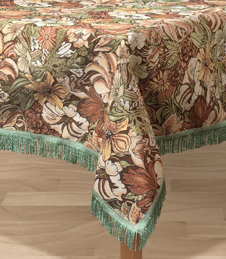 Скатерть Les Gobelins Art Nouveau Lily, прямоугольная, 150 х 190 смlns194797Прямоугольная скатерть Les Gobelins Art Nouveau Lily с ярким цветочным рисунком привлечет к себе внимание и органично впишется в интерьер комнаты. Изделие изготовлено из высококачественной ткани гобелен и оформлено бахромой и кисточками. Необычайная красота сочетается в этой скатерти с высокой прочностью и долговечностью, а свойство гобелена по-разному проявлять себя в зависимости от освещения помещения позволяет открывать все новые и новые детали, которые, как казалось, раньше скрывал гобелен. Красочная и приятная на ощупь скатерть сделает любое застолье торжественным, а интерьер - уютным и своеобразным. Расположение рисунка на скатерти соответствует фотографии.Состав материала:50% хлопок, 50% полиэстер.