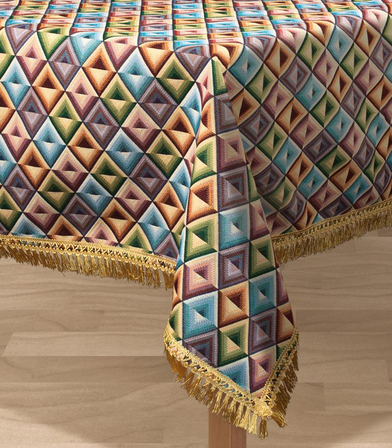 """Прямоугольная скатерть Les Gobelins """"Kaleidoscope"""" с ярким геометрическим рисунком привлечет к себе внимание и органично впишется в интерьер комнаты. Изделие изготовлено из высококачественной ткани гобелен и оформлено бахромой и кисточками. Необычайная красота сочетается в этой скатерти с высокой прочностью и долговечностью, а свойство гобелена по-разному проявлять себя в зависимости от освещения помещения позволяет открывать все новые и новые детали, которые, как казалось, раньше скрывал гобелен. Красочная и приятная на ощупь скатерть сделает любое застолье торжественным, а интерьер - уютным и своеобразным. Расположение рисунка на скатерти соответствует фотографии.Состав материала:  50% хлопок, 50% полиэстер."""