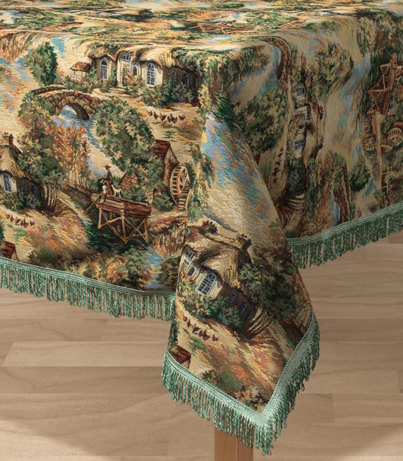 """Прямоугольная скатерть Les Gobelins """"Provence"""" с ярким рисунком привлечет к себе внимание и органично впишется в интерьер комнаты. Изделие изготовлено из высококачественной ткани гобелен и оформлено бахромой и кисточками. Необычайная красота сочетается в этой скатерти с высокой прочностью и долговечностью, а свойство гобелена по-разному проявлять себя в зависимости от освещения помещения позволяет открывать все новые и новые детали, которые, как казалось, раньше скрывал гобелен. Красочная и приятная на ощупь скатерть сделает любое застолье торжественным, а интерьер - уютным и своеобразным. Расположение рисунка на скатерти соответствует фотографии.Состав материала:  45% хлопок, 55% полиэстер."""