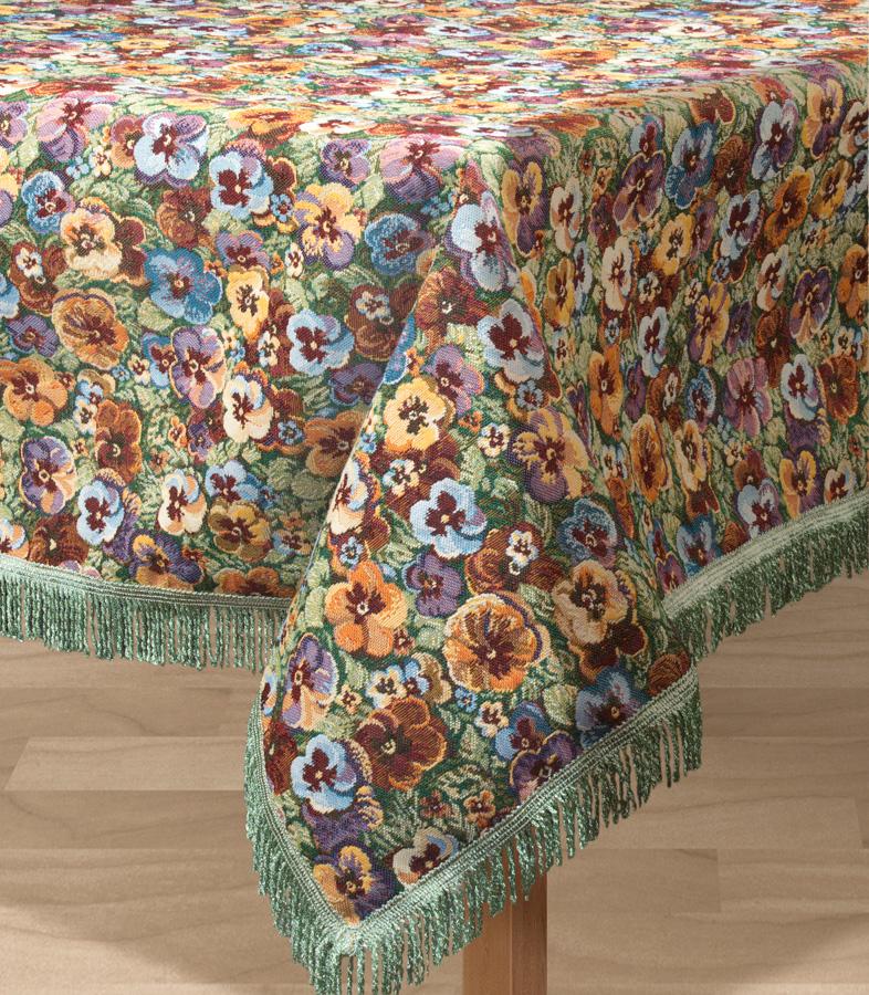 """Прямоугольная скатерть Les Gobelins """"Fleurs De Jardin"""" с ярким цветочным рисунком привлечет к себе внимание и органично впишется в интерьер комнаты. Изделие изготовлено из высококачественной ткани гобелен и оформлено бахромой и кисточками. Необычайная красота сочетается в этой скатерти с высокой прочностью и долговечностью, а свойство гобелена по-разному проявлять себя в зависимости от освещения помещения позволяет открывать все новые и новые детали, которые, как казалось, раньше скрывал гобелен. Красочная и приятная на ощупь скатерть сделает любое застолье торжественным, а интерьер - уютным и своеобразным. Расположение рисунка на скатерти соответствует фотографии.Состав материала:  52% хлопок, 48% полиэстер."""
