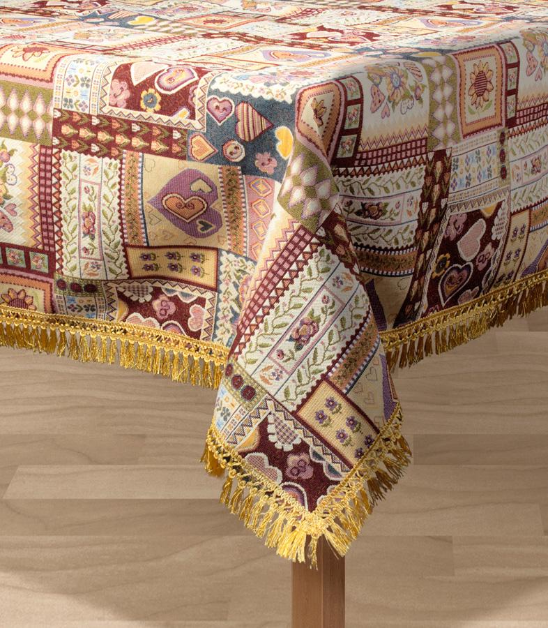 Скатерть Les Gobelins Coeurs Espagnol, прямоугольная, 150 х 190 смlns193961Прямоугольная скатерть Les Gobelins Coeurs Espagnol с ярким рисунком привлечет к себе внимание и органично впишется в интерьер комнаты. Изделие изготовлено из высококачественной ткани гобелен и оформлено бахромой и кисточками. Необычайная красота сочетается в этой скатерти с высокой прочностью и долговечностью, а свойство гобелена по-разному проявлять себя в зависимости от освещения помещения позволяет открывать все новые и новые детали, которые, как казалось, раньше скрывал гобелен.Красочная и приятная на ощупь скатерть сделает любое застолье торжественным, а интерьер - уютным и своеобразным.Расположение рисунка на скатерти соответствует фотографии.Состав материала:52% хлопок, 48% полиэстер.