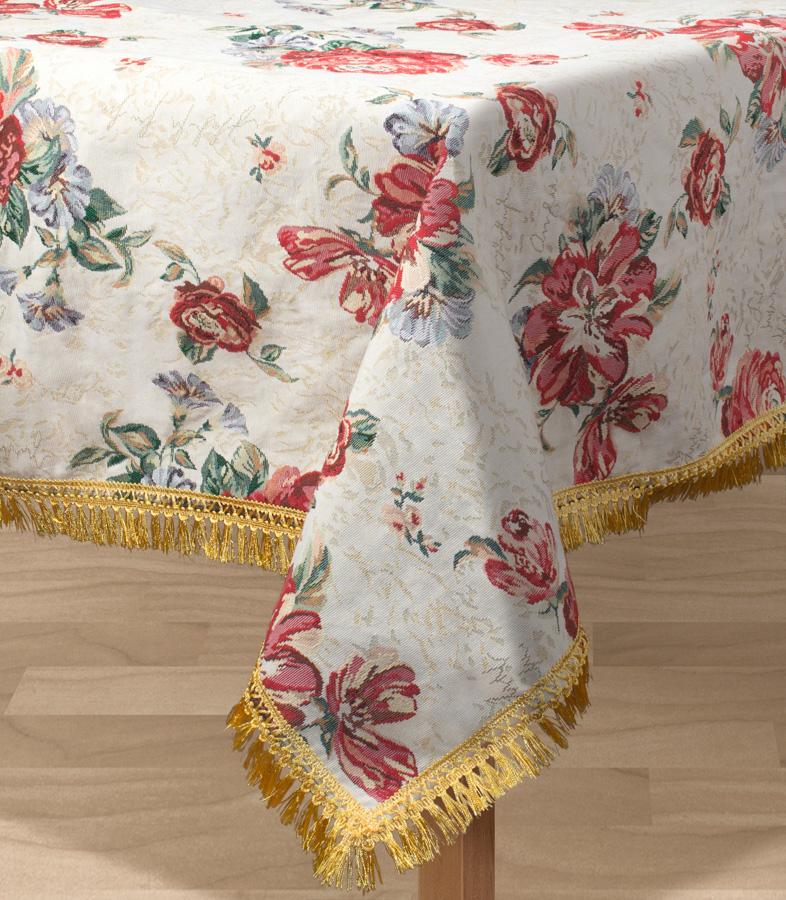 Скатерть Les Gobelins Cleopatra, прямоугольная, 150 х 190 смlns194189Прямоугольная скатерть Les Gobelins Cleopatra с ярким цветочным рисунком привлечет к себе внимание и органично впишется в интерьер комнаты. Изделие изготовлено из высококачественной ткани гобелен и оформлено бахромой и кисточками. Необычайная красота сочетается в этой скатерти с высокой прочностью и долговечностью, а свойство гобелена по-разному проявлять себя в зависимости от освещения помещения позволяет открывать все новые и новые детали, которые, как казалось, раньше скрывал гобелен.Красочная и приятная на ощупь скатерть сделает любое застолье торжественным, а интерьер - уютным и своеобразным.Расположение рисунка на скатерти соответствует фотографии.Состав материала:52% хлопок, 48% полиэстер.