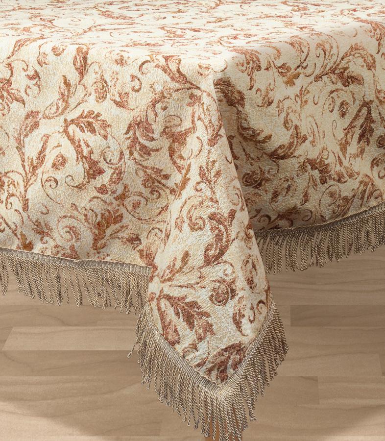 Скатерть Les Gobelins Feuilles Beiges, прямоугольная, 150 х 190 смlns194379Прямоугольная скатерть Les Gobelins Feuilles Beiges с ярким рисунком привлечет к себе внимание и органично впишется в интерьер комнаты. Изделие изготовлено из высококачественной ткани гобелен и оформлено бахромой и кисточками. Необычайная красота сочетается в этой скатерти с высокой прочностью и долговечностью, а свойство гобелена по-разному проявлять себя в зависимости от освещения помещения позволяет открывать все новые и новые детали, которые, как казалось, раньше скрывал гобелен.Красочная и приятная на ощупь скатерть сделает любое застолье торжественным, а интерьер - уютным и своеобразным.Расположение рисунка на скатерти соответствует фотографии.Состав материала:52% хлопок, 48% полиэстер.