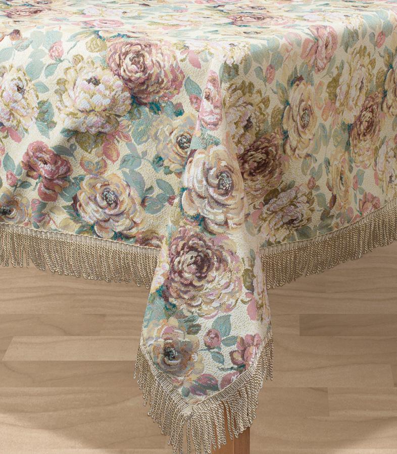 Скатерть Les Gobelins Fleurs Hollandais, прямоугольная, 150 х 190 смlns194531Прямоугольная скатерть Les Gobelins Fleurs Hollandais с ярким цветочным рисунком привлечет к себе внимание и органично впишется в интерьер комнаты. Изделие изготовлено из высококачественной ткани гобелен и оформлено бахромой и кисточками. Необычайная красота сочетается в этой скатерти с высокой прочностью и долговечностью, а свойство гобелена по-разному проявлять себя в зависимости от освещения помещения позволяет открывать все новые и новые детали, которые, как казалось, раньше скрывал гобелен.Красочная и приятная на ощупь скатерть сделает любое застолье торжественным, а интерьер - уютным и своеобразным.Расположение рисунка на скатерти соответствует фотографии.Состав материала:52% хлопок, 48% полиэстер.