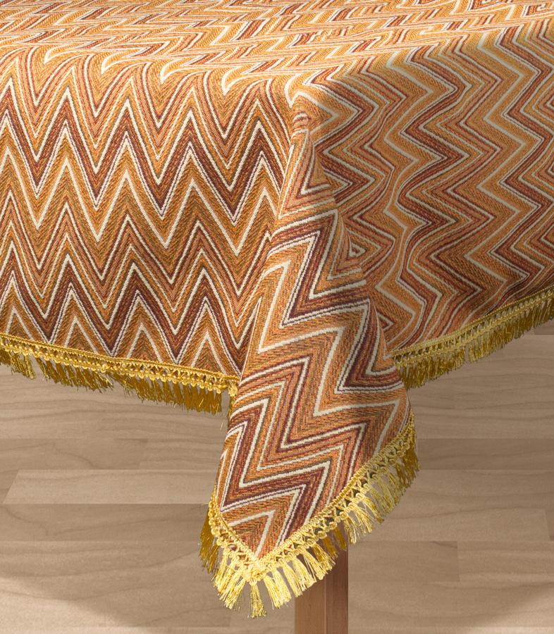"""Квадратная скатерть Les Gobelins """"Zigzag"""" с ярким геометрическим рисунком привлечет к себе внимание и органично впишется в интерьер комнаты. Изделие изготовлено из высококачественной ткани гобелен и оформлено бахромой и кисточками. Необычайная красота сочетается в этой скатерти с высокой прочностью и долговечностью, а свойство гобелена по-разному проявлять себя в зависимости от освещения помещения позволяет открывать все новые и новые детали, которые, как казалось, раньше скрывал гобелен. Красочная и приятная на ощупь скатерть сделает любое застолье торжественным, а интерьер - уютным и своеобразным. Расположение рисунка на скатерти соответствует фотографии.Состав материала:  52% хлопок, 48% полиэстер."""