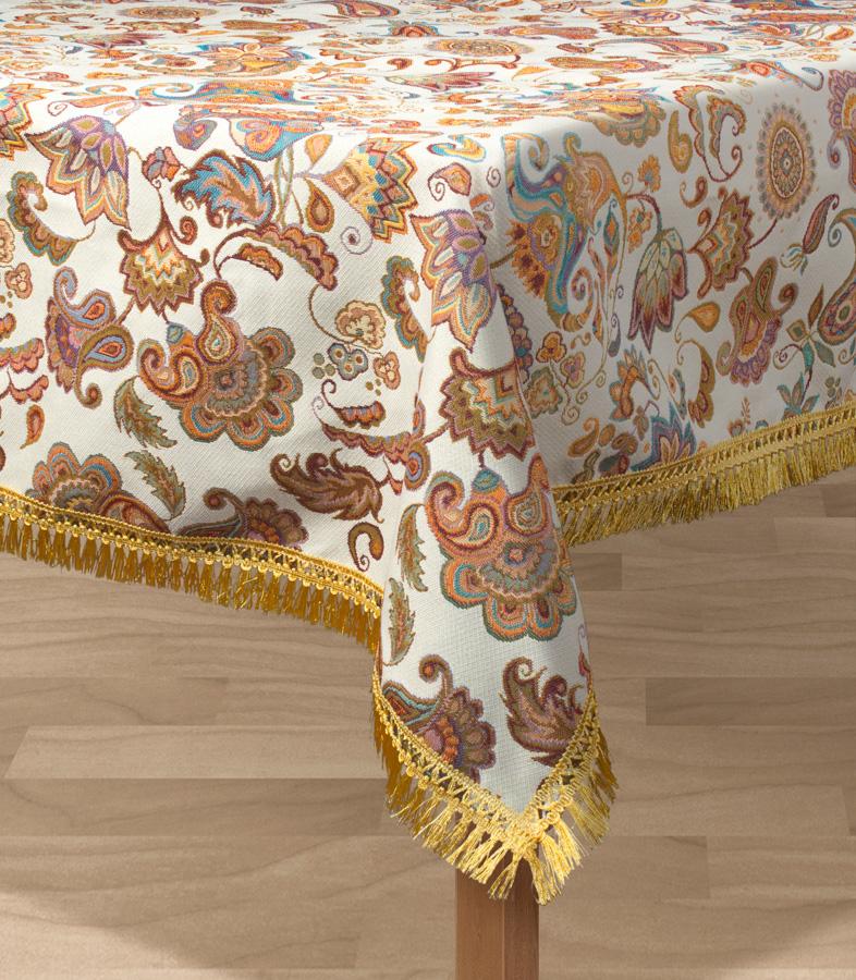 Скатерть Les Gobelins Ete Indien, прямоугольная, 150 х 190 смlns194721Прямоугольная скатерть Les Gobelins Ete Indien с ярким рисунком привлечет к себе внимание и органично впишется в интерьер комнаты. Изделие изготовлено из высококачественной ткани гобелен и оформлено бахромой и кисточками. Необычайная красота сочетается в этой скатерти с высокой прочностью и долговечностью, а свойство гобелена по-разному проявлять себя в зависимости от освещения помещения позволяет открывать все новые и новые детали, которые, как казалось, раньше скрывал гобелен. Красочная и приятная на ощупь скатерть сделает любое застолье торжественным, а интерьер - уютным и своеобразным. Расположение рисунка на скатерти соответствует фотографии.Состав материала:95% полиэстер., 5% хлопок
