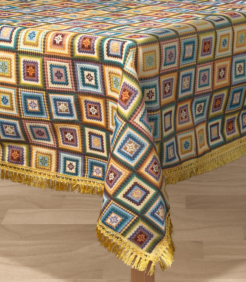 Скатерть Les Gobelins Labyrinthe, квадратная, 130 х 130 смlns194735Квадратная скатерть Les Gobelins Labyrinthe с ярким геометрическим рисунком привлечет к себе внимание и органично впишется в интерьер комнаты. Изделие изготовлено из высококачественной ткани гобелен и оформлено бахромой и кисточками. Необычайная красота сочетается в этой скатерти с высокой прочностью и долговечностью, а свойство гобелена по-разному проявлять себя в зависимости от освещения помещения позволяет открывать все новые и новые детали, которые, как казалось, раньше скрывал гобелен. Красочная и приятная на ощупь скатерть сделает любое застолье торжественным, а интерьер - уютным и своеобразным. Расположение рисунка на скатерти соответствует фотографии.Состав материала:52% хлопок, 48% полиэстер.