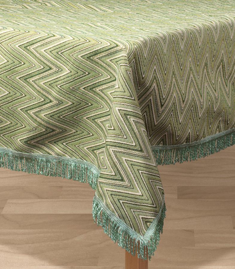Скатерть Les Gobelins Zigzag, прямоугольная, цвет: зеленый, 150 х 190 смlns194797Прямоугольная скатерть Les Gobelins Zigzag с ярким геометрическим рисунком привлечет к себе внимание и органично впишется в интерьер комнаты. Изделие изготовлено из высококачественной ткани гобелен и оформлено бахромой и кисточками. Необычайная красота сочетается в этой скатерти с высокой прочностью и долговечностью, а свойство гобелена по-разному проявлять себя в зависимости от освещения помещения позволяет открывать все новые и новые детали, которые, как казалось, раньше скрывал гобелен.Красочная и приятная на ощупь скатерть сделает любое застолье торжественным, а интерьер - уютным и своеобразным.Расположение рисунка на скатерти соответствует фотографии.Состав материала:52% хлопок, 48% полиэстер.