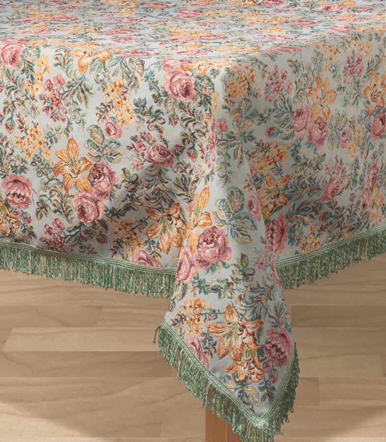 """Прямоугольная скатерть Les Gobelins """"Arrangement De Fleurs"""" с ярким цветочным рисунком привлечет к себе внимание и органично впишется в интерьер комнаты. Изделие изготовлено из высококачественной ткани гобелен и оформлено бахромой и кисточками. Необычайная красота сочетается в этой скатерти с высокой прочностью и долговечностью, а свойство гобелена по-разному проявлять себя в зависимости от освещения помещения позволяет открывать все новые и новые детали, которые, как казалось, раньше скрывал гобелен. Красочная и приятная на ощупь скатерть сделает любое застолье торжественным, а интерьер - уютным и своеобразным. Расположение рисунка на скатерти соответствует фотографии.Состав материала:  52% хлопок, 48% полиэстер."""