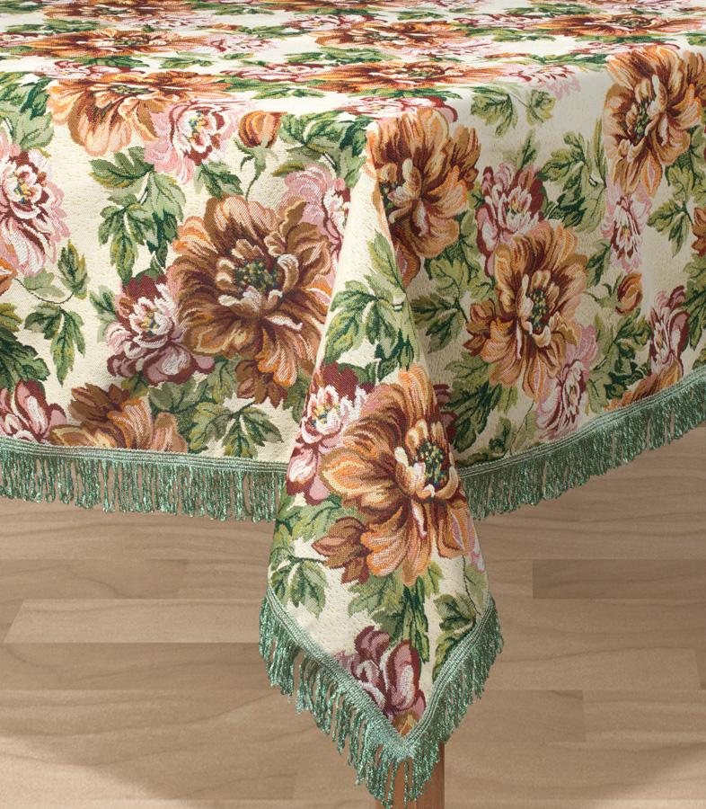Скатерть Les Gobelins Pivoines, квадратная, 130 х 130 смlns194849Квадратная скатерть Les Gobelins Pivoines с ярким цветочным рисунком привлечет к себе внимание и органично впишется в интерьер комнаты. Изделие изготовлено из высококачественной ткани гобелен и оформлено бахромой и кисточками. Необычайная красота сочетается в этой скатерти с высокой прочностью и долговечностью, а свойство гобелена по-разному проявлять себя в зависимости от освещения помещения позволяет открывать все новые и новые детали, которые, как казалось, раньше скрывал гобелен. Красочная и приятная на ощупь скатерть сделает любое застолье торжественным, а интерьер - уютным и своеобразным. Расположение рисунка на скатерти соответствует фотографии.Состав материала:52% хлопок, 48% полиэстер.