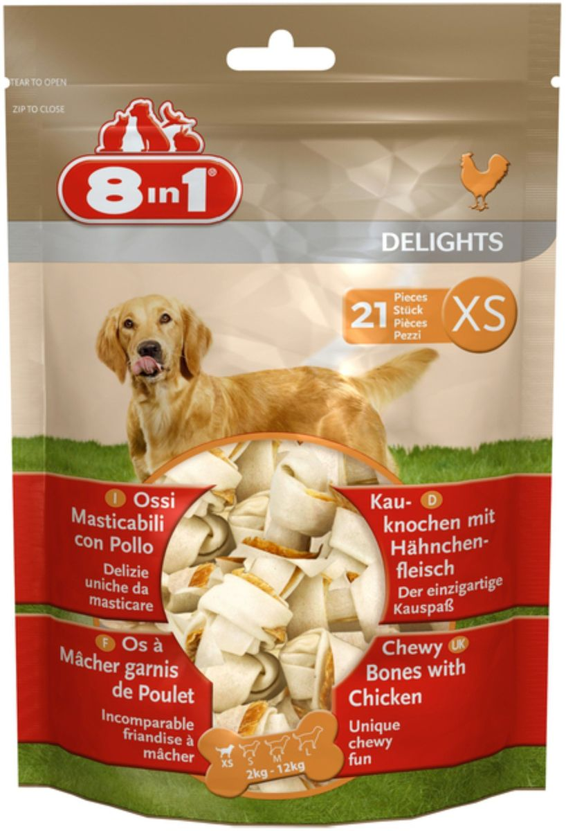 Лакомство для мелких собак 8 in 1 Delights. XS, косточки с куриным мясом, 7,5 см, 21 шт102533Лакомство для мелких собак 8 in 1 Delights. XS представляет собой аппетитное куриное мясо, завернутое в жесткую говяжью кожу высшего качества. Это уникальное сочетание жевательной косточки и средства поощрения.Особенности: - 9 из 10 собак предпочитают лакомство Делайтс- Уникальный и запатентованный продукт- Заботится о зубах- Уменьшает зубной налет и тем самым предотвращает образование зубного камня- Удовлетворяет природный жевательный инстинкт собаки- Долго жуется, съедается без остатка- Содержит всего 2% жира- Не содержит искусственных красителей и усилителей вкуса- Упаковка содержит 21 косточку размером 7,5 смСостав: мясо и мясные субпродукты (куриное мясо 12%), минеральные вещества.Советы по кормлению: дается в дополнение к ежедневному основному рациону. У животного всегда должен быть доступ к свежей воде. Следите за собакой, когда она грызет кость.Товар сертифицирован. Уважаемые клиенты! Обращаем ваше внимание на то, что упаковка может иметь несколько видов дизайна. Поставка осуществляется в зависимости от наличия на складе.