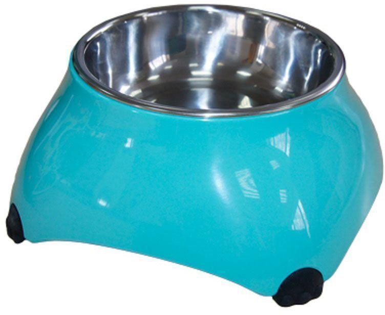 Миска для животных Super Design, на меламиновой подставке, высокая, цвет: аквамарин, 160 мл16033Миска Super Design для животных подходит для корма или воды. Миска приподнята над уровнем пола, что создает дополнительное удобство питомцу. Подставка выполнена из прочного полимера, устойчивого к образованию царапин и трещин. Вынимающееся металлическое блюдце выполнено из нержавеющей стали, легко моется любыми бытовыми моющими средствами. Подходит для мытья в посудомоечной машине. Объем 160 мл.Высота миски: 7 см.