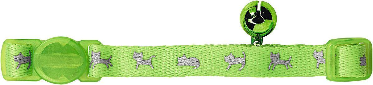 Ошейник для кошек Hunter Smart Neon, с бубенчиком, цвет: зеленый ошейник для кошек hunter modern art luxus silver сереб